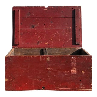 Vintage Rustic Red Storage Chest For Sale