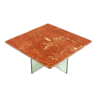 Glass X Cross Base & Marble Top Coffee Table For Sale
