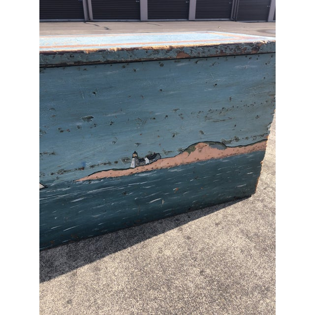 Folk Art Folk Art 19th Century Painted Trunk From Maine For Sale - Image 3 of 12