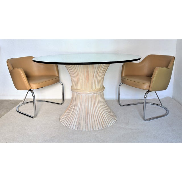 McGuire Wheat Sheaf Bamboo Rattan Dining Table With Thick Round Glass Top Organic Mid Century Modern MCM Millennial For Sale - Image 10 of 11