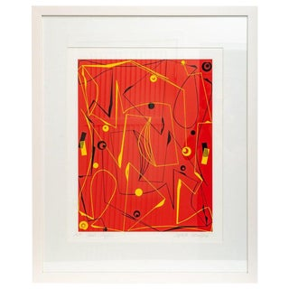 "Modern Abstract Lithograph on Paper ""Red Maze"" by Atsuko Okamoto For Sale"
