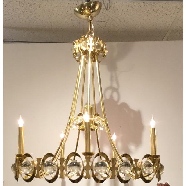 Stylish Global Views Retro Modern Brass Jewel Tangle Chandelier, crystal ball details, showroom floor sample, original...