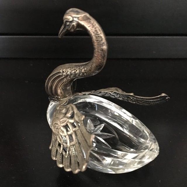 Silver German Sterling Silver & Crystal Open Salt For Sale - Image 8 of 11