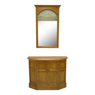Conant Ball Maple Wood Hall Console Table Cabinet and Wall Mirror Clipper Ship For Sale