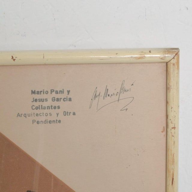 Modern Art Architectural Sketch by Mario Pani and Jesus Garcia Collantes 1947 For Sale - Image 3 of 11