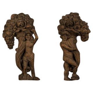 18th Century French Carved Oak Figures Holding a Cornucopia For Sale