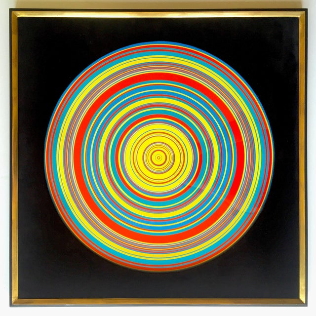 """ Tadasky "" Tadasuke Kuwayama Rare Vintage 1968 Mid Century Modern Framed Op Art Lithograph Print "" Whirling Circles "" For Sale - Image 12 of 13"
