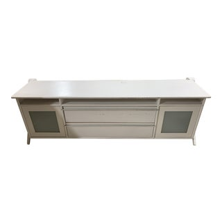 Mid-Century Modern White & Wood Credenza For Sale