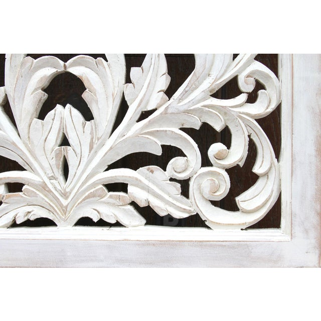 Acanthus Whitewashed Wooden Carved Panel For Sale - Image 4 of 11