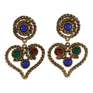 Kenneth Jay Lane Earrings Heart Dangles Jewel Tone Cabochons For Sale