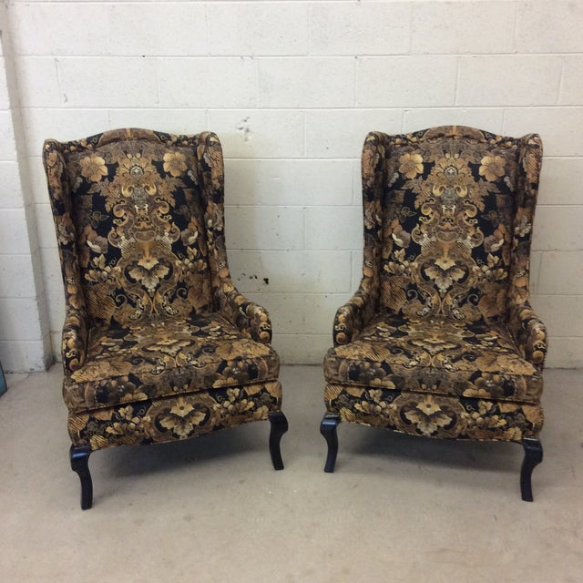 Hollywood Regency Black & Gold High Back Chairs - a Pair For Sale - Image 11 of 11