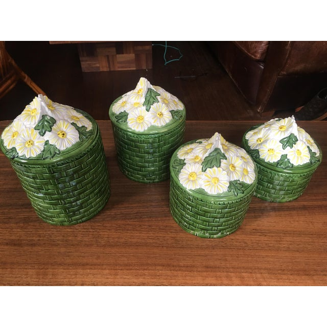 1950s Vintage Green Ceramic Basket Weave Daisy Motif Canisters - Set of 4 For Sale - Image 10 of 10