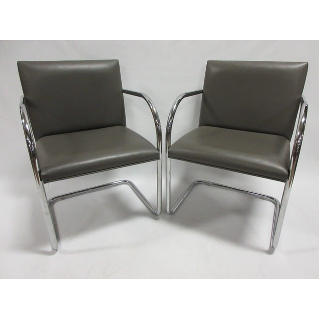 Mies Van Der Rohe Brno Guest Chair in Brown - a Pair For Sale - Image 10 of 10