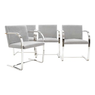 1980s Vintage Mies Van Der Rohe Gray Suede Brno Chairs - Set of 4 For Sale