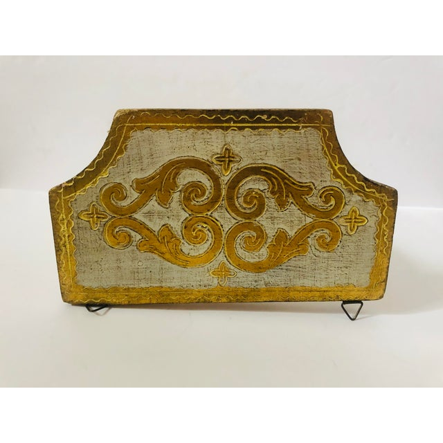 Vintage cream and gold lacquer wood Florentine decorative wall bracket.