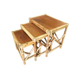Set of 3 Rattan Nesting Side Tables With Mahogany Top and Fancy Wrappings For Sale