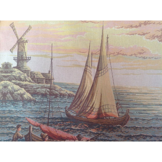 French Dutch Port Scene Tapestry For Sale - Image 4 of 5