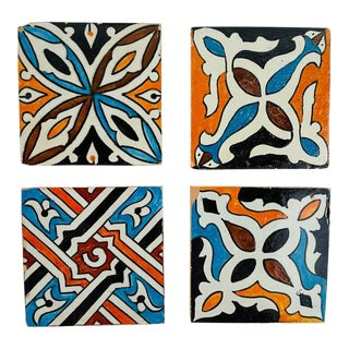 Ceramic Handpainted Moroccan Coaster or Tile, Set of 4 For Sale