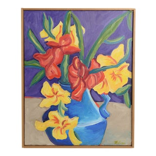 Contemporary Still Life Botanical Exotic Floral Tropical Bouquet Oil Painting by Rolinski Framed For Sale
