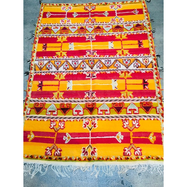 Late 20th Century Moroccan Vintage Tribal Rug - 4′9″ × 6′11″ For Sale - Image 5 of 13