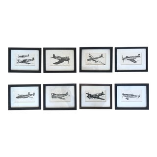 Late 20th Century WWII Fighter Plane Prints, Framed - Set of 8 For Sale