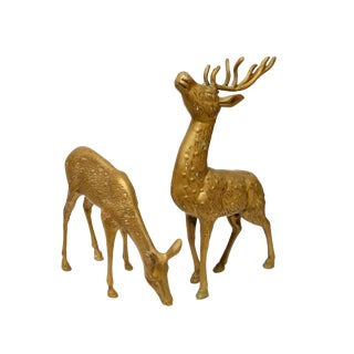 Solid Brass Buck & Doe Deer Animal Figurines - a Pair For Sale