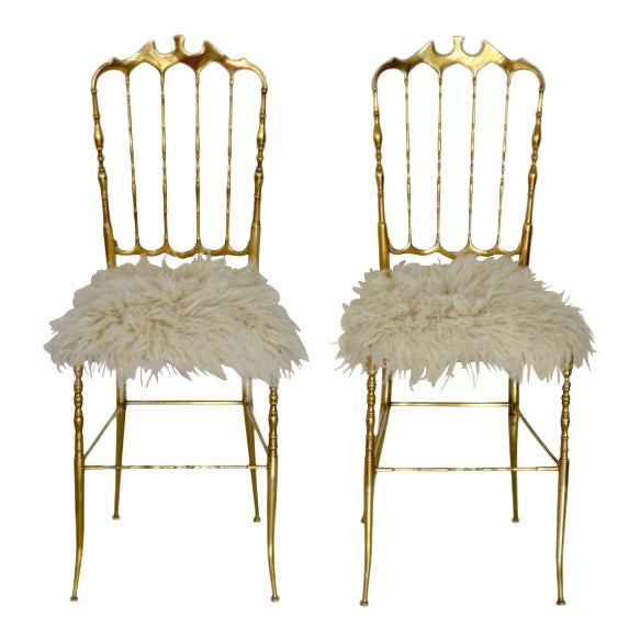 Mid-Century Brass Side Chairs - a Pair For Sale