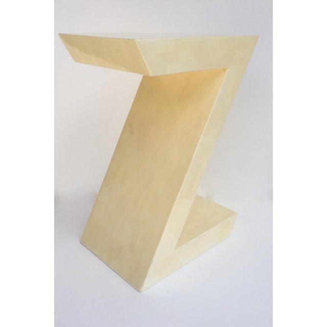 """Karl Springer Attr. Inlaid Bone Tessellated """"Zig-Zag"""" Side/End Table For Sale - Image 13 of 13"""
