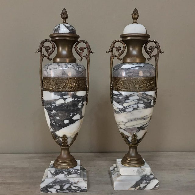 Mantel Urns/Cassolettes, 19th Century French Marble & Bronze - a Pair For Sale - Image 4 of 12