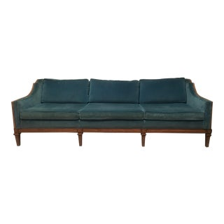 Vintage Mid Century Velvet Sofa For Sale