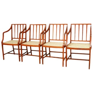 Slat Back Caned Dining Chairs - Set of 4