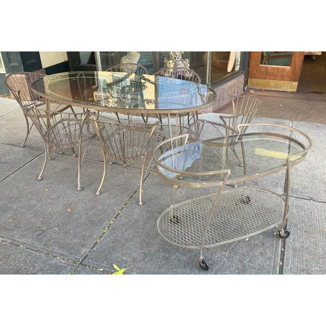 Metal 1950s Vintage Woodard Pinecrest Dining Table and Chairs With Bar Cart - 8 Pieces For Sale - Image 7 of 8