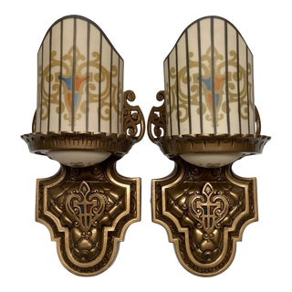 1928 Art Deco Slip Shade Sconces by Williamson - a Pair For Sale