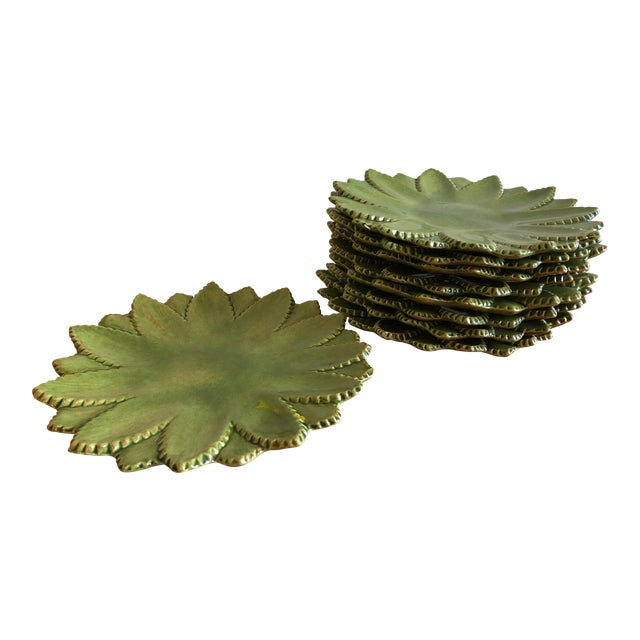 Hand Made Studio Pottery Leaf Ceramic Plates With Serrated Edge - Set of 9 For Sale
