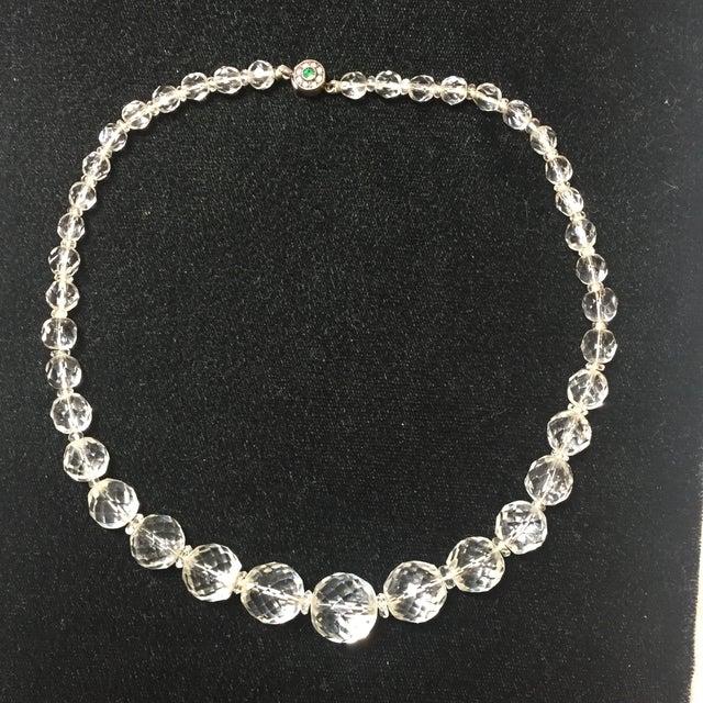 1900 - 1909 Edwardian Cut Lead Crystal Bead Choker Necklace & Sterling Earrings,1905 For Sale - Image 5 of 13