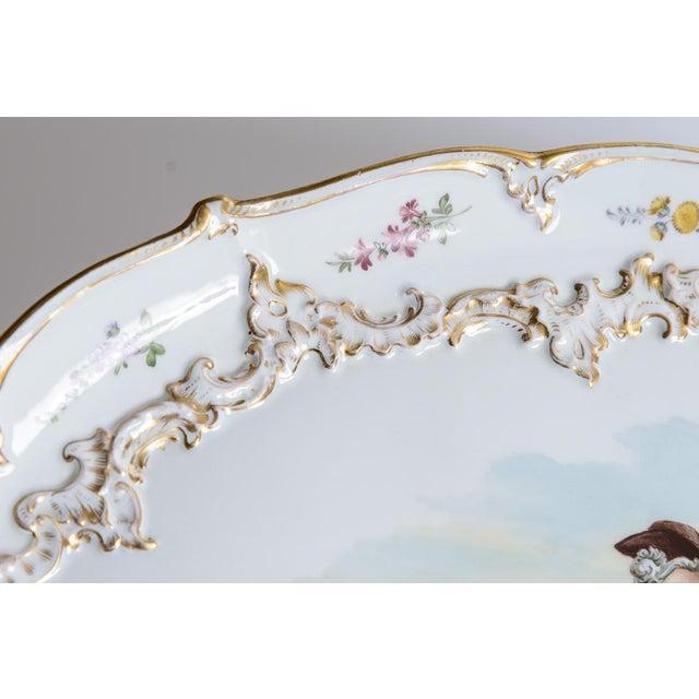 Cottage Meissen Porcelain Pastoral Scene Platter For Sale - Image 3 of 6