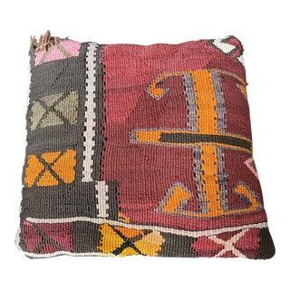 "Vintage Turkish Kilim Rug Pillow - 14.5x14.5"" For Sale"