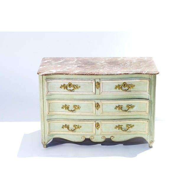 19th Century 19th C. French Painted Marble Top Commode For Sale - Image 5 of 5