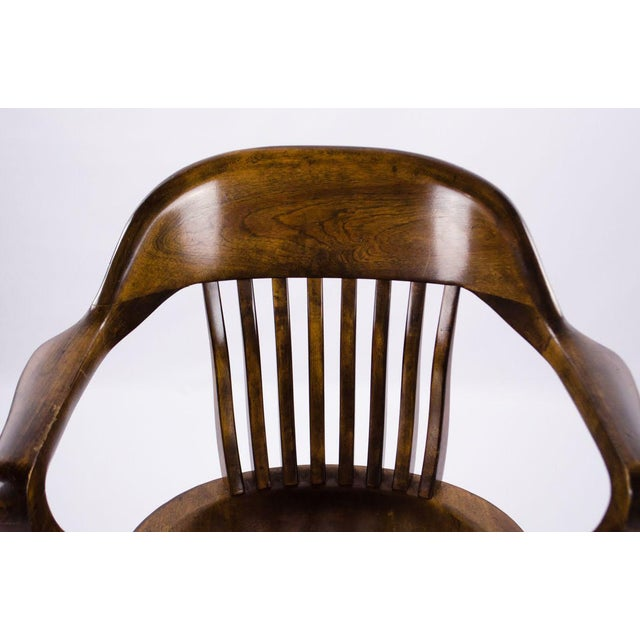 Americana Vintage Mid-Century B. L. Marble Chair Company Walnut Bank of England Style Chair For Sale - Image 3 of 13
