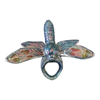 French Sarreguemines Majolica Dragonfly Wall Pocket