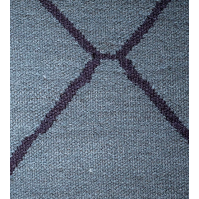 Contemporary Blue Handwoven Wool Moroccan Inspired Flatweave Rug For Sale - Image 9 of 10