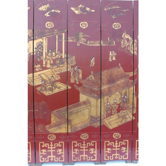 Antique Traditional 8-Panel Red & 24k Gold Asian Screen For Sale In Miami - Image 6 of 11