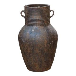 Ceramic Rough Rusty Brown Dimensional Marks Pottery Vase Jar