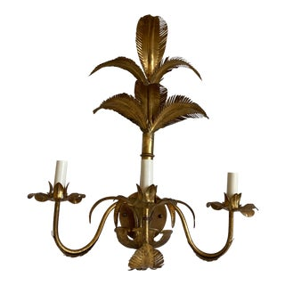1950s Italian Palm Topiary Wall Light For Sale
