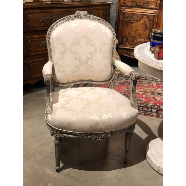 French Antique Painted French Chairs For Sale - Image 3 of 7
