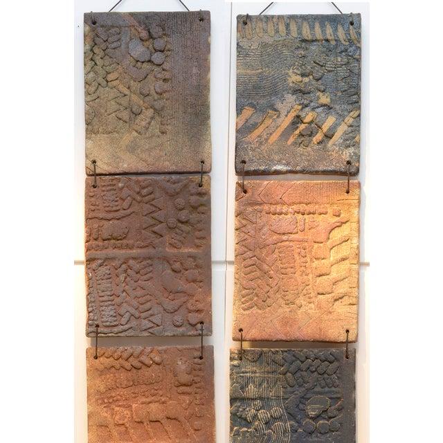 1970s stoneware La Borne wall decoration. Each tile is 35 cm x 26 cm.