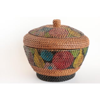 Antique Painted Basket with Lid Preview