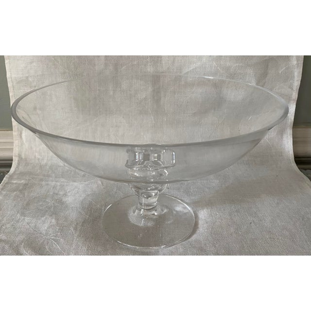 Contemporary Tiffany Crystal Glass Footed Pedestal Bowl For Sale - Image 3 of 6