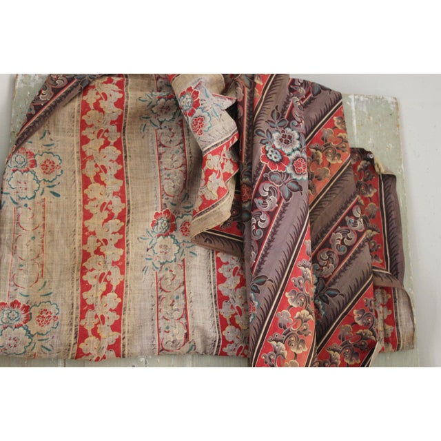 Antique French Fabric Rare Purple Red & Blue Madder Tones 1830 Roller Printed For Sale - Image 6 of 13