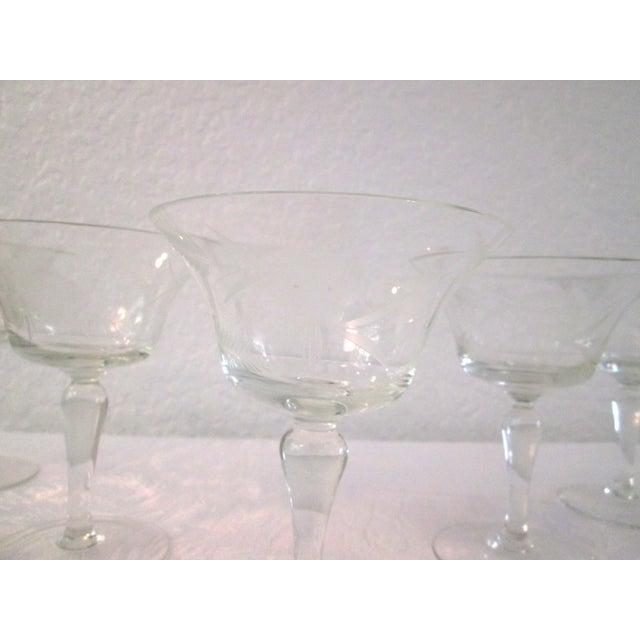 Mid-Century Etched Grape Cocktail Coupes - S/6 - Image 4 of 6